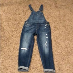 Hollister distressed overalls